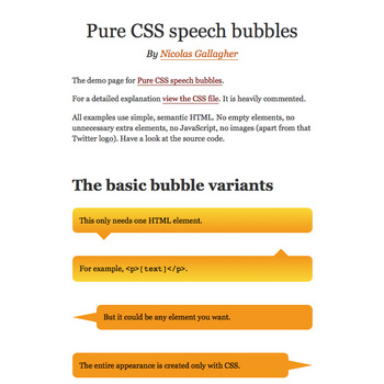 Demo- Pure CSS speech bubbles – Nicolas Gallagher